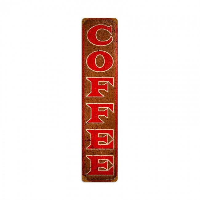 Coffee Retro Planet Advertising Metal Sign, 28 X 6 Inches, Vintage Style Home  Decor