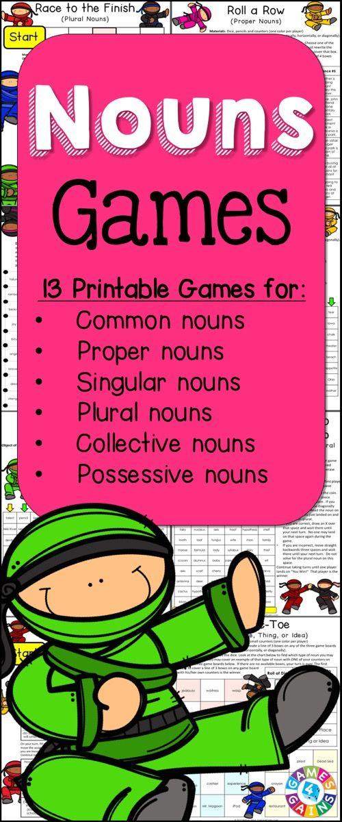 Nouns Games contains 13 fun and engaging printable board games to help students to practice common nouns, proper nouns, singular nouns, plural nouns, collective nouns, possessive nouns, concrete nouns, abstract nouns, and more!