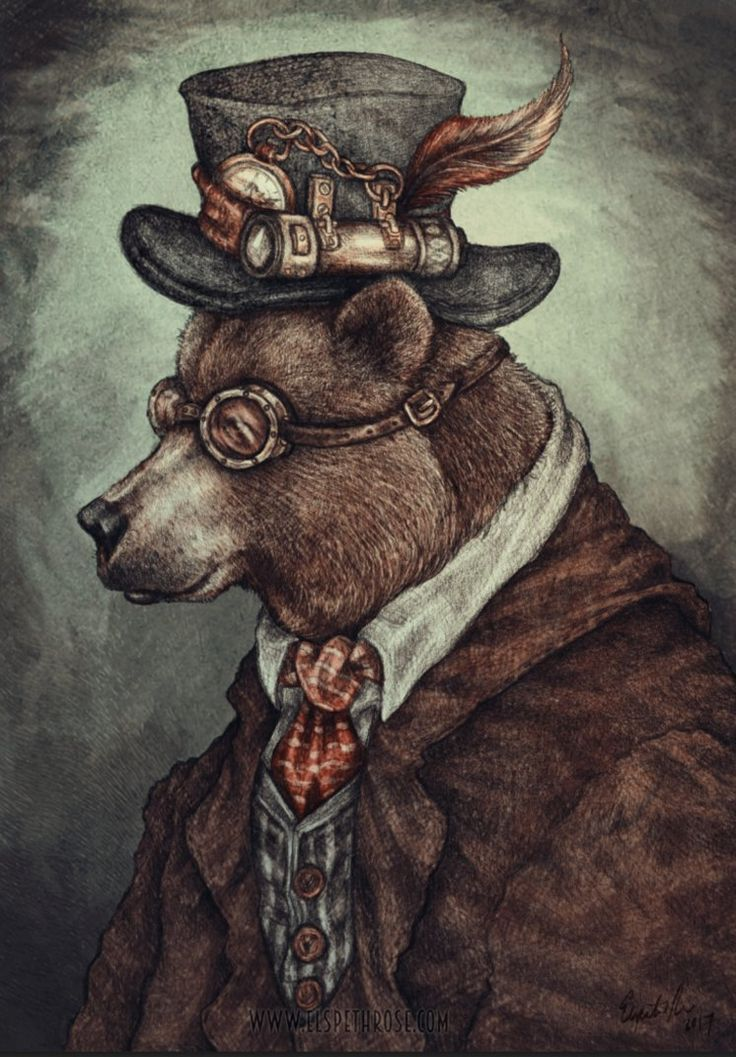 Mr Bearson by ElspethRose.com, brown bear steampunk art