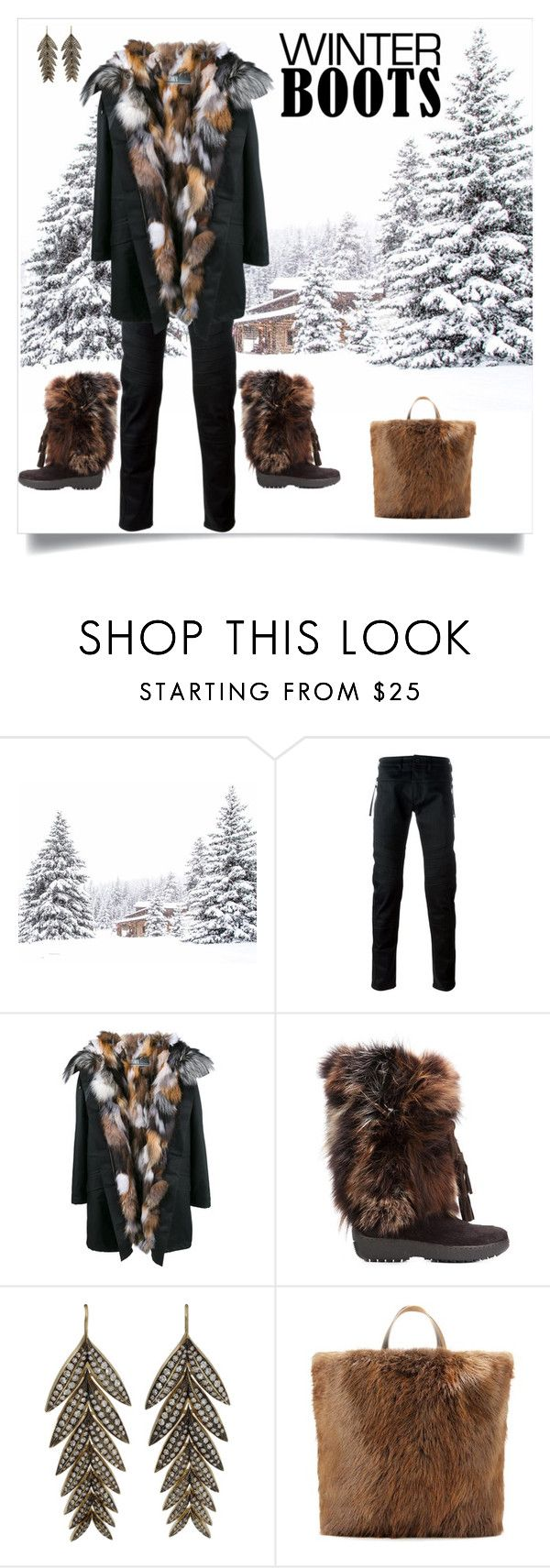 """""""Winter Boots"""" by shoecraycray ❤ liked on Polyvore featuring Diesel Black Gold, Yves Salomon, Pajar, Sylva & Cie and Marni"""
