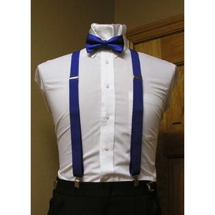 """Spencer J's Royal Blue Matching Bow Tie and Suspender set 1"""" Men's X Back Clip Spencer J's"""