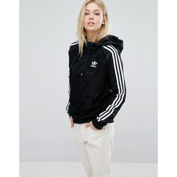 adidas Originals Faux Fur Hoodie (€95) ❤ liked on Polyvore featuring tops, hoodies, black, adidas top, faux fur top, raglan hoodie, adidas and raglan top