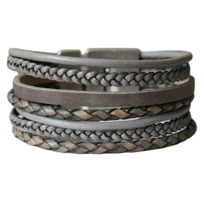Lederen armband DARE! LA35, grijsbruin
