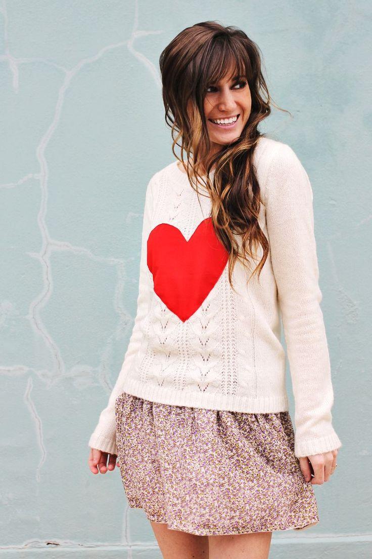 DIY Heart Sweater - WANT: Heart Sweaters, Basic Pullover, Diy Heart, Dark Hair, Style, Diy'S, Diy Fashion, Diy Sweaters, Diy Clothing