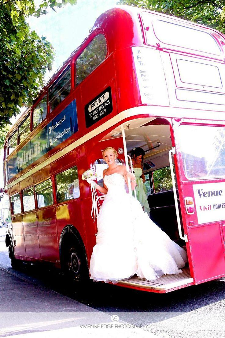 Wedding transport red London bus