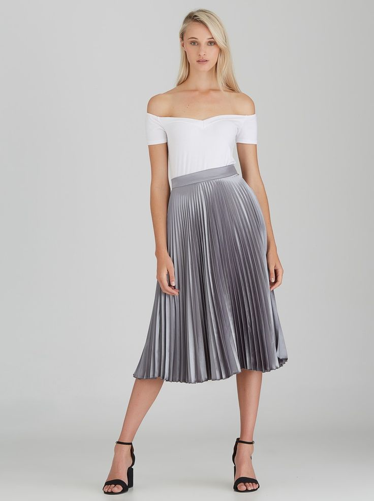 STYLE REPUBLIC Pleated Midi Skirt Silver