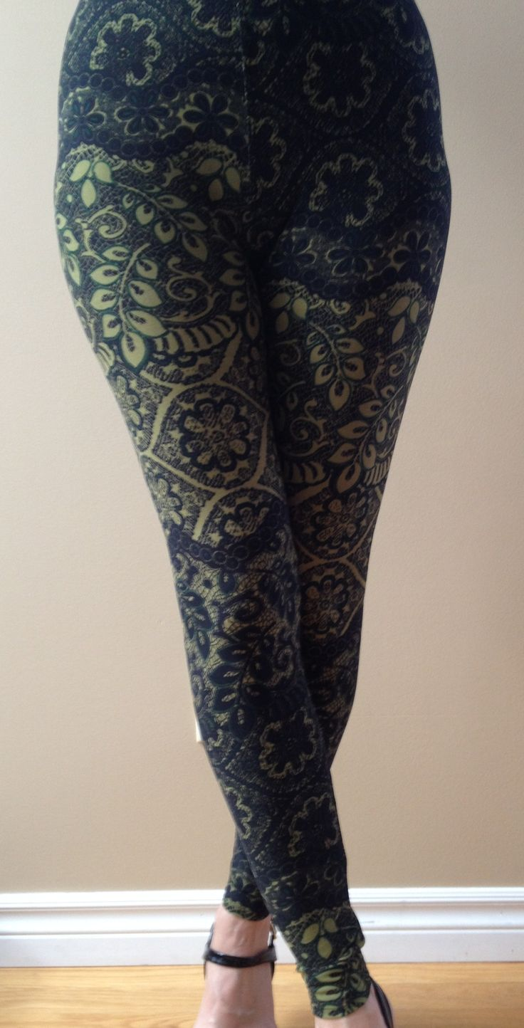 """""""Olive Branch""""...Beautiful paisley leggings done in a beautiful olive green colour! A must have!  """"One Size"""" fits most 2-12, 5ft 1 – 6ft tall."""