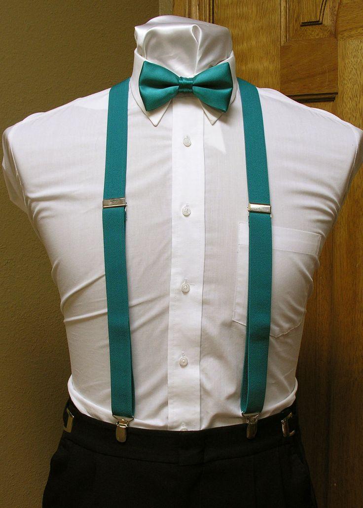 Heather's teal suspenders.