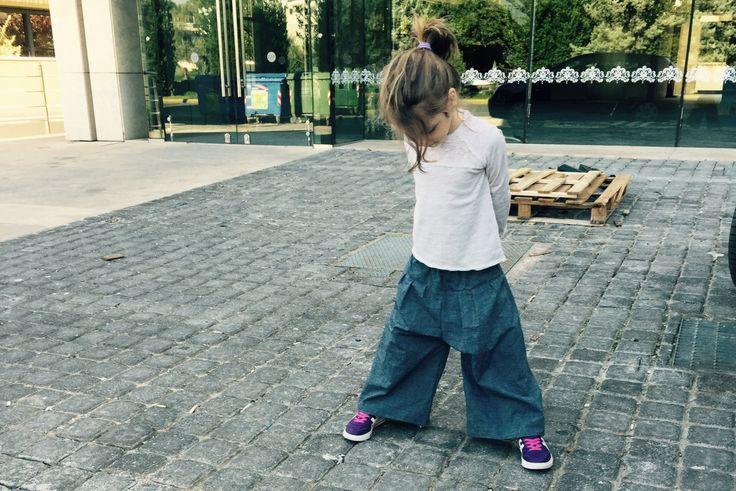 Denim culottes for girls, wide denim pants trousers for kids, jeans for kids - egst by ElliandPaul on Etsy