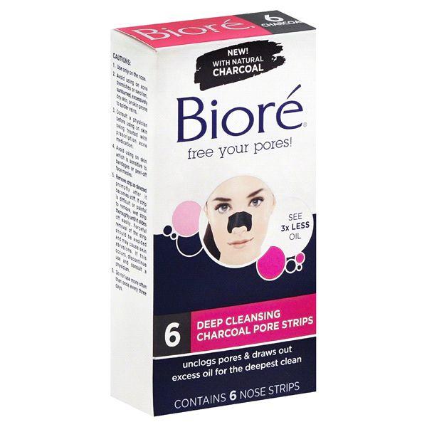 Bioré Deep Cleansing Charcoal Pore Nose Strips 6 ct