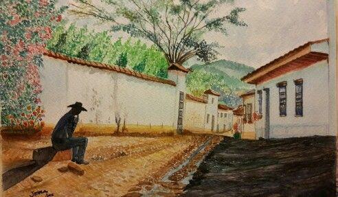Acuarela de Calle de Barichara Santander