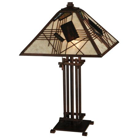 This unusual table lamp blends Mission style forms with a more modern patchwork design of Muted Multicolored geometric glass pieces set on a classic Silver Mica background.