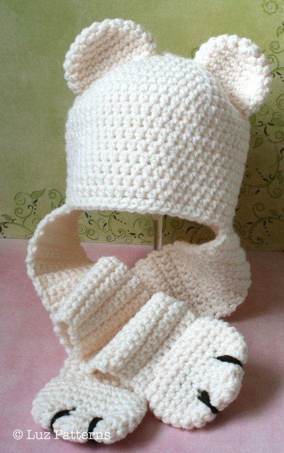 Crochet Polar Bear Earflap Paws Beanie Hat - Etsy Pattern $4.99