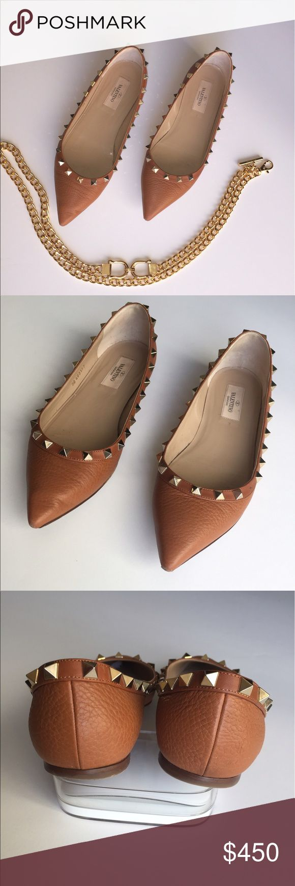 VALENTINO GARAVANI Rockstud Flats VALENTINO Garavani Rockstud Ballerina Flats leather  Size: 37.5 / 7.5.  Color: Pebbled cognac leather Gold-tone pyramid studs embellishments at top lines   These beautiful flats are in good pre-loved condition with a lot of life still left in them! Most wear is on the bottom and inner sole. Also, there is some wear on the front tips that is mostly visible only when looked at from the bottom of the shoe. Box and dustbag not included. I will ship same day…