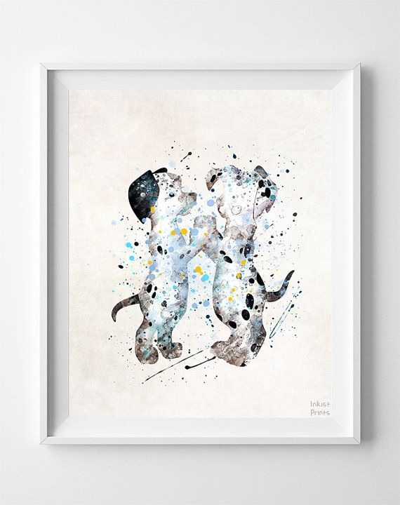 101 Dalmatians Watercolor Print Disney Poster Baby by InkistPrints