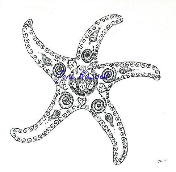 Starfish with paisley, Zendoodle Coloring Page | Ocean ...