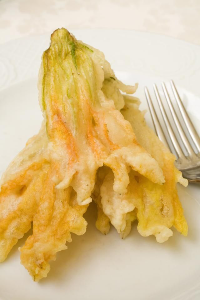 If you can find fresh zucchini flowers, here's how to use them!: Fried zucchini blossom