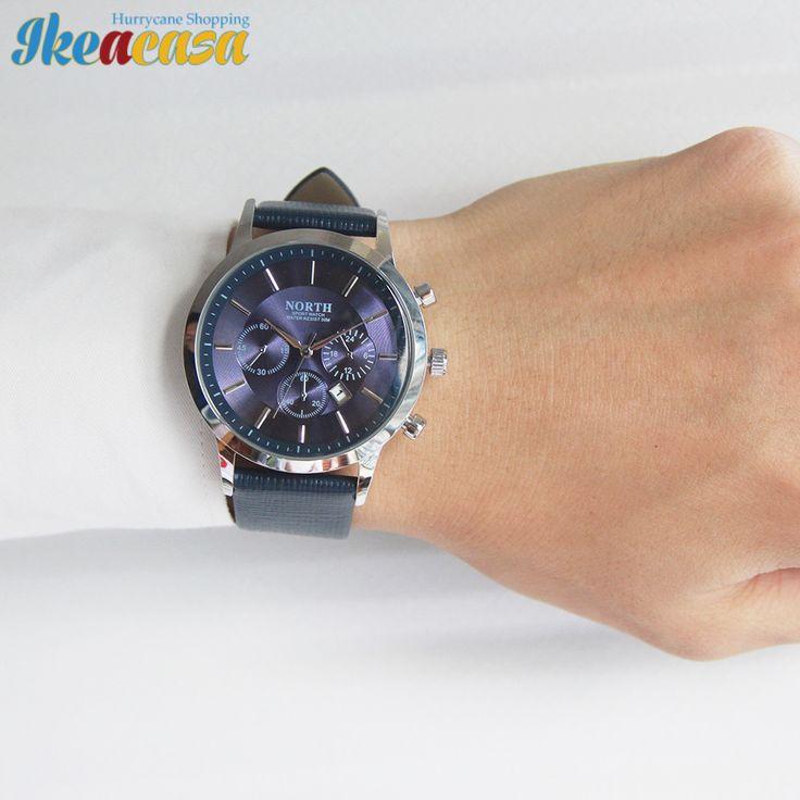 North Luxury Men Watches Waterproof Genuine Leather Fashion Casual Wristwatch Man Business Sport Clock Classic Ikeacasa Montre Orologio Uhr часы Reloj