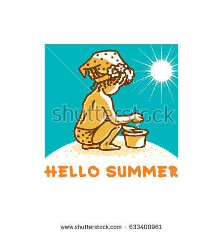 Beautiful little girl with kerchief and pail on sandy beach on sunny day. Cartoon vector illustration.