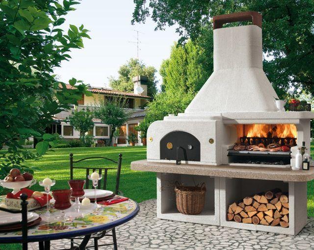 barbecue de jardin blanc de design original avec four et grille