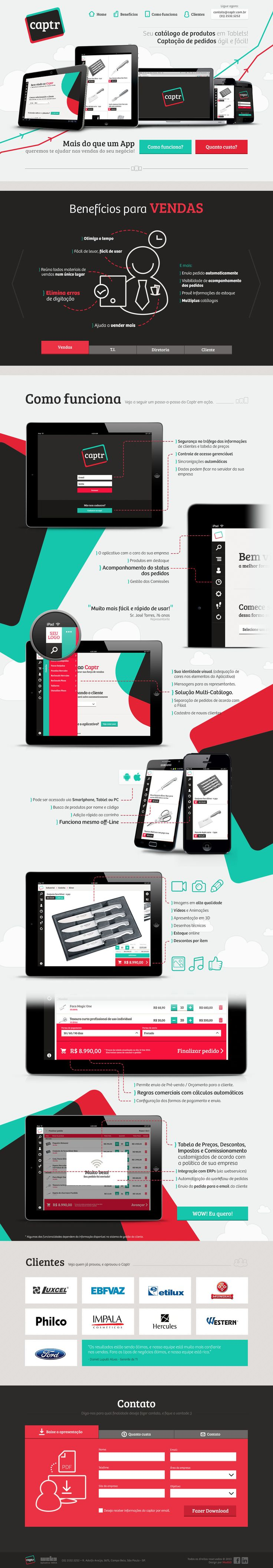 Flat design in the one pager for new startup Captr - a new e-commerce platform designed for tablets.