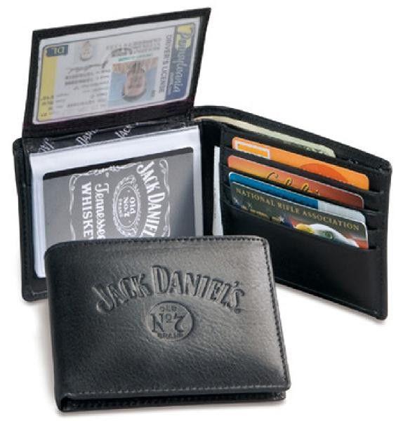 Jack Daniels Black Leather Mens Trifold Wallet 4011JD | Buffalo Trader Online