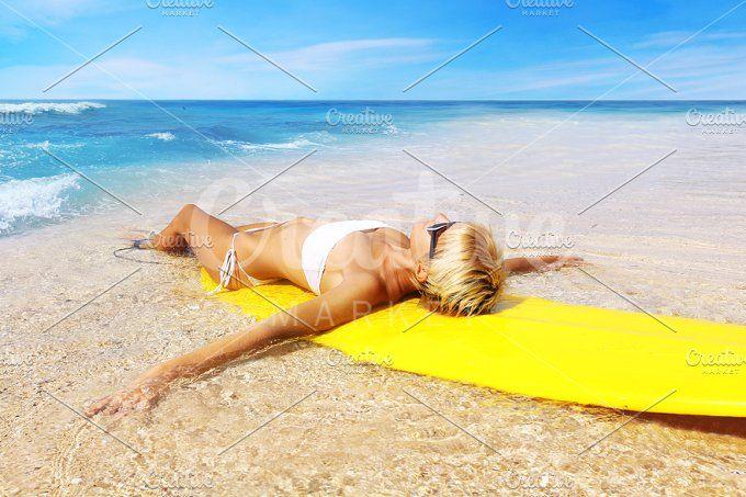 surfer girl on the beach by Trefilova Anna on @creativemarket