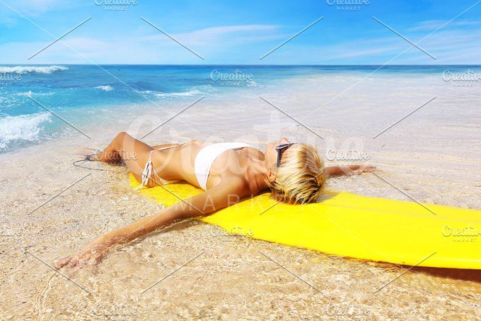 surfer girl on the beach by Trefilova Anna on @creativemarket