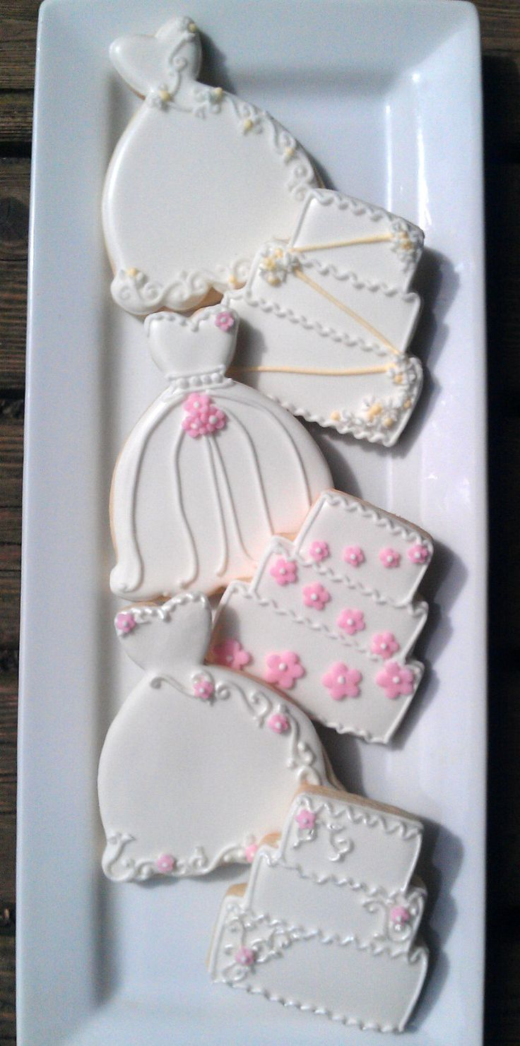 24 Decorated Sugar Cookies Wedding Dress Cake Bridal Shower favor