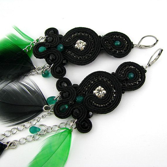 Long black and emmerald earrings carnival от byPiLLowDesign
