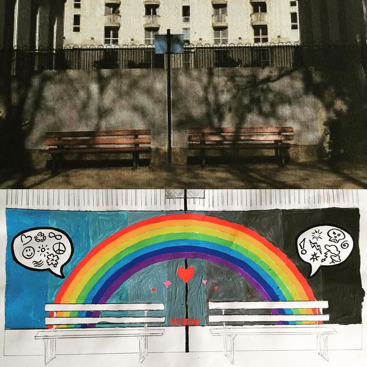 Voici un de mes deux projets pour les 14 Art's 2016 portant sur une intervention sur un mur au Square Carninal Wynzynski - malheureusement non retenus... Merci à la Mairie du 14ème pour cette proposition qui m'a permis d'orienter un regard nouveau sur mon art en m'intéressant d'un peu plus au street Art! Rues me voilà ... #Azezu #Mairie14 #artderue #Peinture #streetart #14Arts #Paris14 #raimbow #smile #hungry by azezu_official