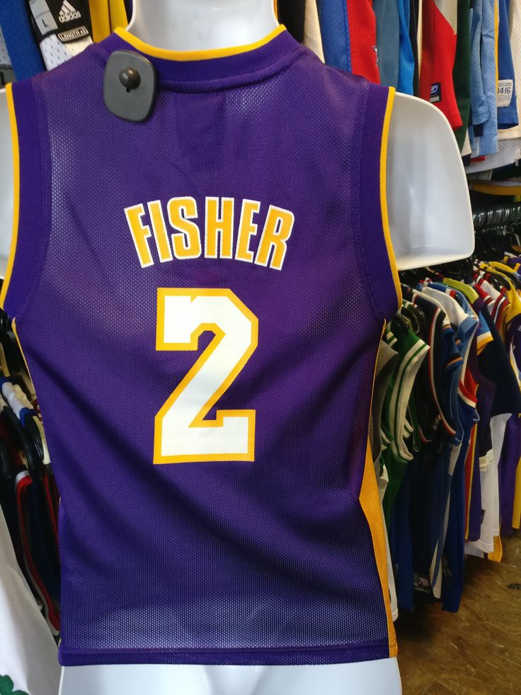 Vintage #2 DEREK FISHER Los Angeles Lakers NBA Adidas Jersey YS