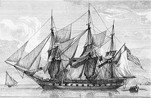 "The 3rd USS ""Boston"" was a 32-gun wooden-hulled, 3-masted frigate of the US Navy. Boston was built by public subscription in Boston under the Act of 30 June 1798. Boston was active during the Quasi-War & the First Barbary War.  Boston was laid up in 1802 & considered not worth repairing at the outbreak of the War of 1812. She was burned at the Washington Naval Yard on 24 August 1814 to prevent her capture by British forces."