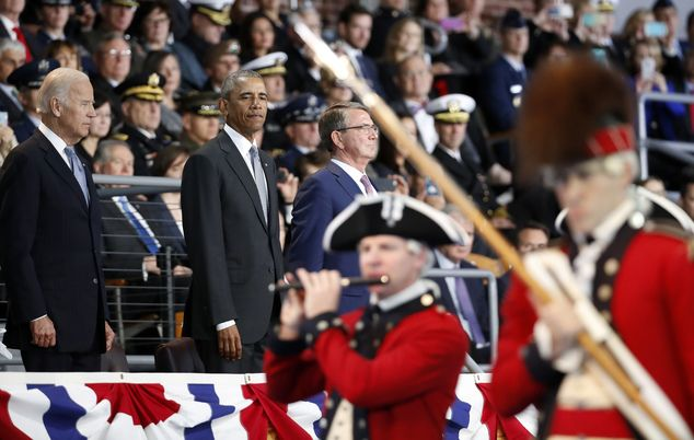 President Barack Obama, Vice President Joe Biden and Defense Secretary Ash Carter watch th...