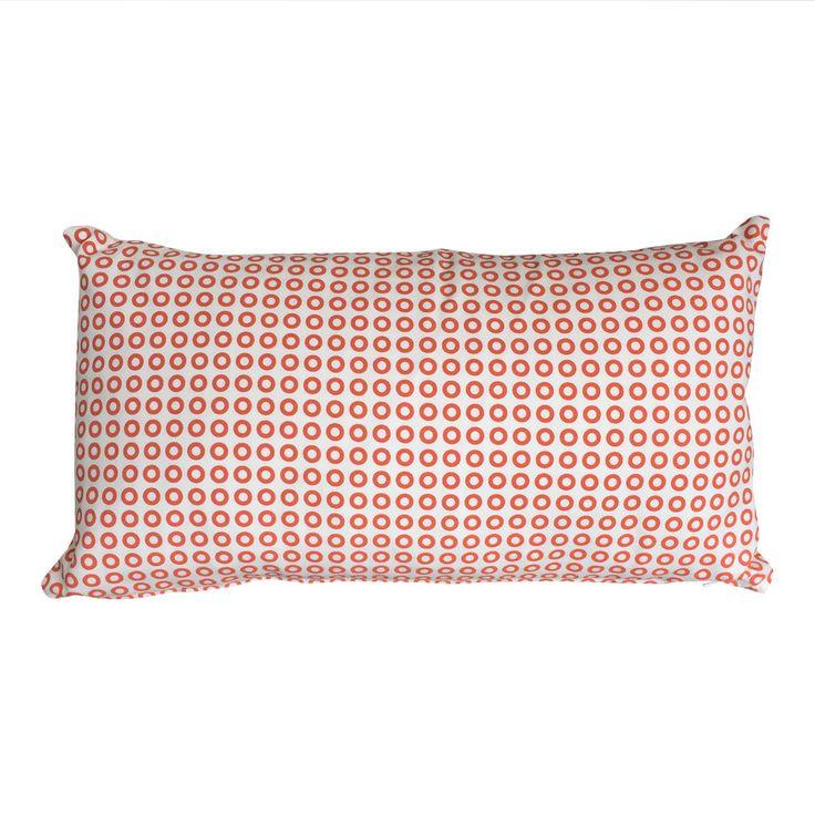 Retro Circles Cushion in Peachskin - 45x25cm Hand Screenprinted on 100% Cotton Canvas by SalisburyRoad on Etsy