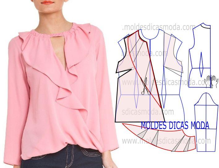 Passo a passo corte e costura de molde blusa rosa. O trabalho que proponho hoje tem o propósito de clarificar a transformação do molde blusa rosa.