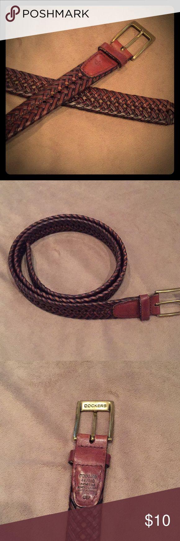Men's brown braided belt size 44 Men's Docker's brown braided belt size 44 in great condition. Dockers Accessories Belts