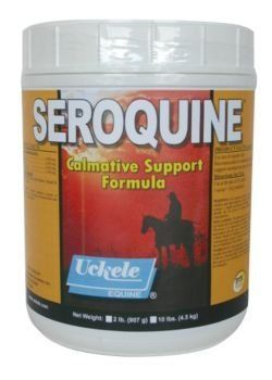 Uckele Seroquine 10lb Powder by Uckele. $103.49. Uckele Seroquine Powder Formula that helps maintain calmness and support normal nervous system function. Active Ingredients (per 30 g): Taurine 8,000 mg Magnesium 5,000 mg Inositol 4,000 mg Thiamine (B1) 1,100 mg Inactive Ingredients: Distillers Dried Grains with Solubles, Natural and Artifical Flavors Directions for Use: Use at the rate of 30 g daily. 1 scoop= 30g (included) Cautions: If animal's condition worsens or d...