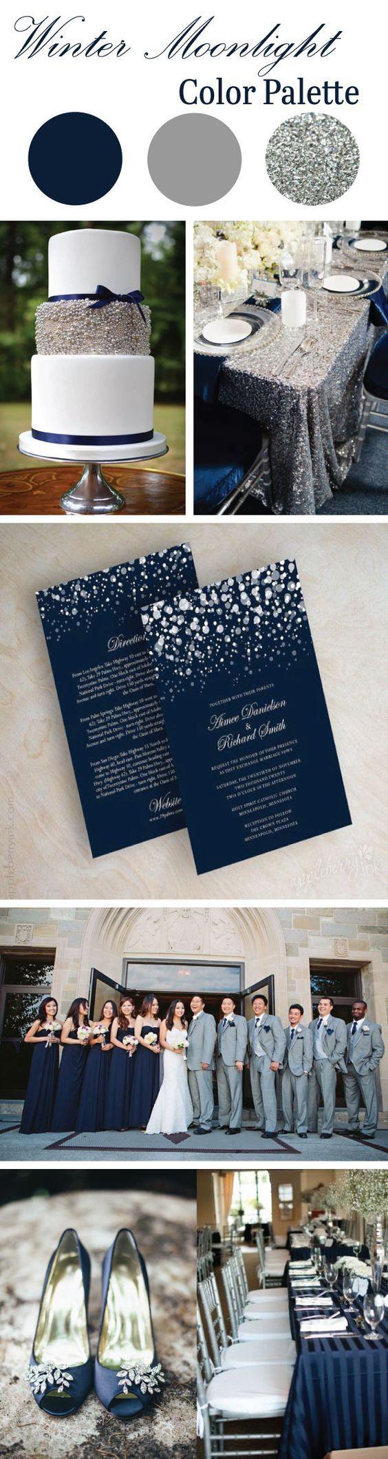 Winter Moonlight Wedding Color Palette | LinenTablecloth Blog #colorpalette # wedding #events:
