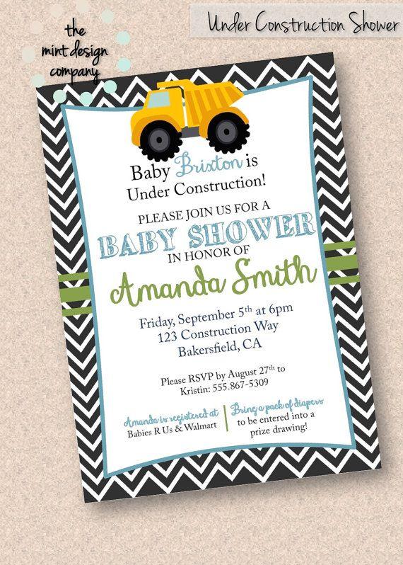 Under Construction Tonka Truck Themed Baby Shower Invitation by The Mint Design Company, www.themintdesigncompany.com