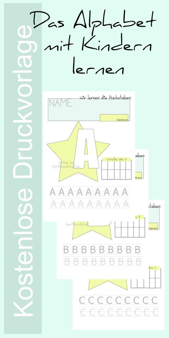 Buchstaben lernen Kindergarten und Vorschule - kostenlose Druckvorlage zum Alphabet schreiben mit Kindern