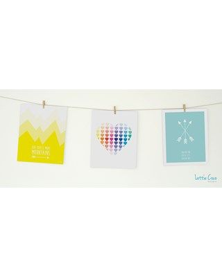 Lottie Coco - Love Colour - Kid You'll Move Mountains, Rainbow Loveheart and You Are Our Greatest Adventure prints. Print pack for your nursery or childs room. These packs come with string and mini wooden pegs hanging kit. www.lottiecoco.co.nz