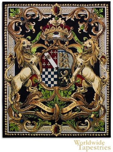 """The coat of arms tapestry """"Crest On Black II"""" shows two golden lions on a heraldic crest design. The work has a modern style while taking the symbols of strength and courage as well as royalty from the past."""