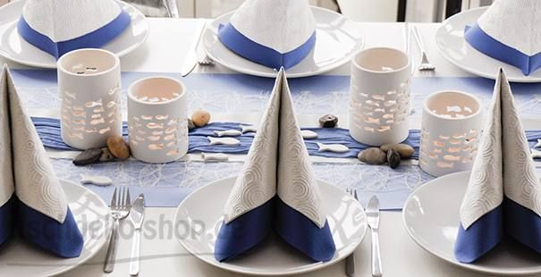 Tischdeko Kommunion / Konfirmation in Taubenblau/Weiß mit Fischen