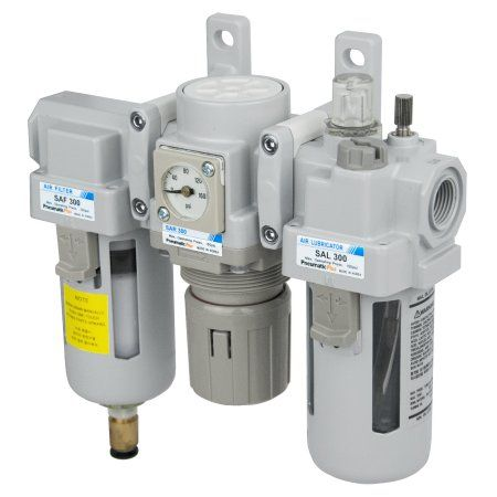PneumaticPlus SAU300-N03DGS Compressed Air Filter Regulator Lubricator Combo 3/8 inch NPT - Poly Bowl, Auto Drain, Bracket, Embedded Gauge