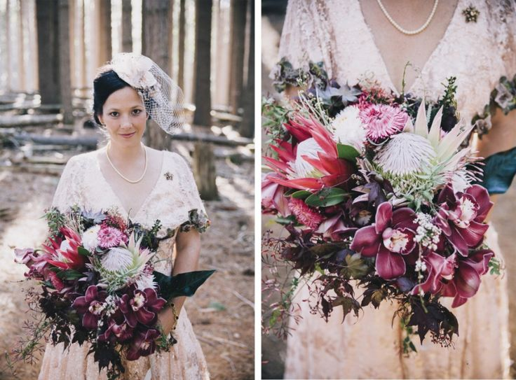 Bride portrait photography with native Australian bouquet and in her handmade dress. Pine forest wedding in spring time near Tumbarumba and Batlow, New South Wales, Australia - taken by Anthea and Lyndon Photography and Video