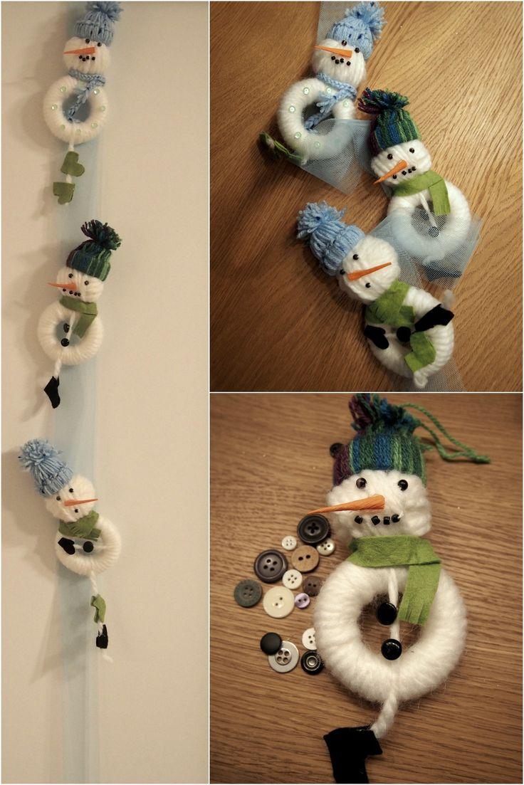 bombki ręcznie robione/ hand made christmas baubles, bałwanki/snowman, Dekoracje świąteczne/ christmas decoration