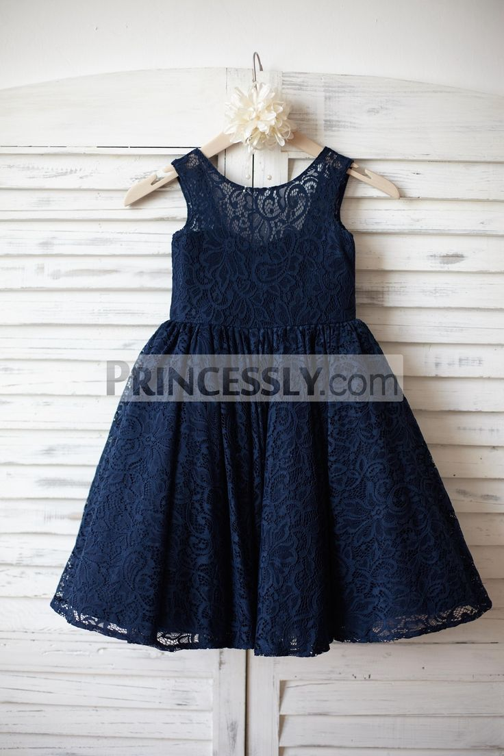 Navy Blue Lace Flower Girl Dress with V back and big bow - Flower Girl Dresses - Wedding