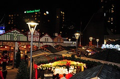 Evenings feel romantic at the Vancouver Christmas Market.