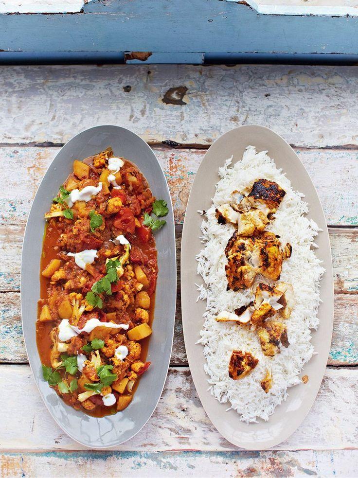 Fantastic fish tikka curry (white fish, potatoes, cauliflower, lentils)